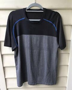LULULEMON Black Grey Blue Top L T-Shirt Short Sleeve Textured Mesh Men's As New