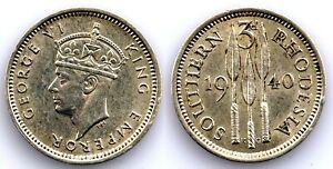 Rodesia del Sur-Jorge VI. 3 peniques 1940. SC-/UNC- Plata 1,4 g. Brillo original
