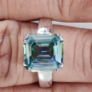 3.00 Ct 8.50mm Off white Asscher Cut Moissanite 925 Sterling Silver Ring Sz 6.50