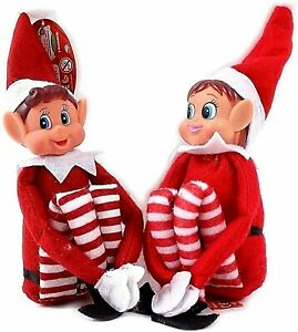"12"" ELF NAUGHTY PUT ON THE SHELF XMAS ELVES CHRISTMAS PROP DOLL BOY & GIRL X 2"