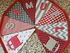 PERSONALISED CAMPERVAN BUNTING- GREY & RED MIX -ANY NAME-£1 PER FLAG, FREE P&P