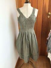 calvin klein sage green stripe pleat detail cotton dress medium bnwt