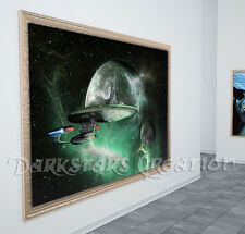 Enterprise D - Star Trek TNG, Green Space, Darkstars Creation Original Art Print