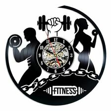 Modern Design Wall Clock Fitness Gym Vinyl Record Bodybuilding Watch 3D Decor