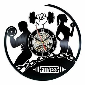 Modern Design Wall Clock Fitness Gym Vinyl Record Bodybuilding Watch 3D Decor
