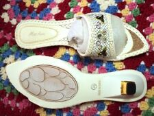 SALE   miss anne white eastern embroidered  kitten mules non slip soles  New