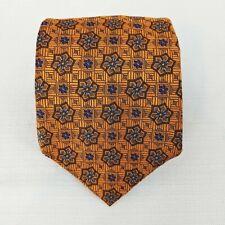 ROBERT TALBOTT Estate Men's 100% Silk Necktie Luxury Geometric Orange Blue Black