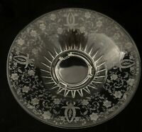 """Viking Glass PRELUDE Etched 3 Toed Footed Bowl 11 3/4"""" 1940s"""