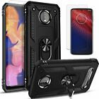 For Motorola Moto Z4 Case, Metal Ring Kickstand Cover + Tempered Glass Protector