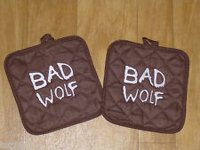 Dr Who BAD WOLF embroidered BROWN cotton potholder set of 2 cute gift idea