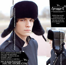 BLACK MINK MEN'S SOVIET NAVAL OFFICER FUR HAT ushanka chapka fourrure pelzmutze