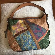 Fossil Canvas Shoulder Purse Patchwork Summer Bag