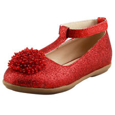 Wedding Flower Girl's T-Strap Dress Shoes Glitter With Beads on top Little Kids