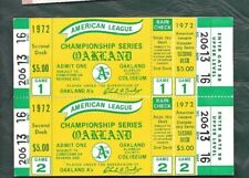 1972 ALCS baseball ticket connected lot of 2 Oakland A's Athletics SCARCE!!!