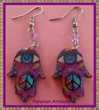 Hamsa Hand Designs/Protection Evil Eye! Special Peruvian Lot 25 P-Earrings