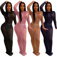 Women's Sexy Backless Long Sleeve Perspective Bodycon Clubwear Night Dress Skirt