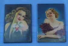 Rare Lot of 2 Vintage Hand Pocket Mirrors With Images of Sexy Women From 1950