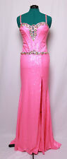 PRECIOUS FORMALS BUBBLE GUM PINK GEMS SEQUINS PROM FORMAL GOWN DRESS 0