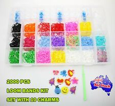 2000 PC Large Rainbow Loom Bands Box With 10 Charms DIY Bracelet Necklace Kids