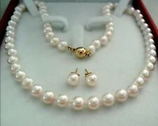 14K Gold Clasp 8-9MM AAA+ White Akoya Cultured Pearl Necklace Earring