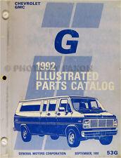1992 Chevrolet GMC G Van Parts Book Catalog Beauville Rally Vandura Chevy 92