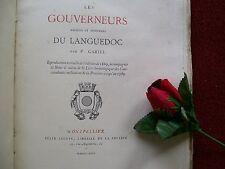 GARIEL : LES  GOUVERNEURS ANCIENS & MODERNES  DU LANGUEDOC 1874 ( H.C )
