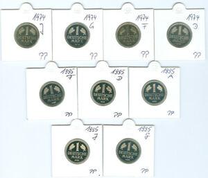 BRD  1 DM 1974 - 2001 PP  (123 Münzen!)