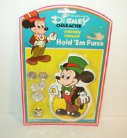 New/Sealed Vintage Disney Mickey Mouse Hold'Em Coin Purse w/ Coins and Ring