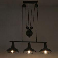 Vintage Pulley Metal Cage Pendant Lamp Island Kitchen Ceiling Light Chandelier