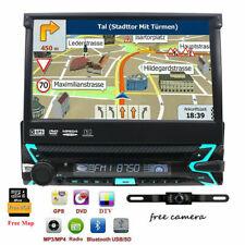 DAB+ HD Flip-Up Single 1 Din Car Head Unit Stereo Radio DVD Player GPS Navi+Map