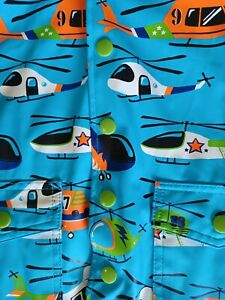 Hatley Toddler Size 2T Boy Rain Coat Helicopters Snap Closure Hooded Lined