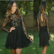 Sz 8 10 Black Lace Skater Long Sleeve Formal Gown Cocktail Party Sexy Club Dress