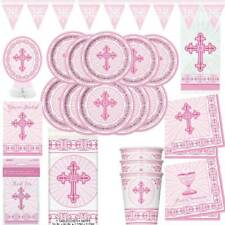 Girls 1st First Holy Communion Party Tableware Decorations Royal Pink White