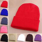 Bonnet tricoté d'HIVER HOMME unicolore Chapeaux en laine pour femmes NEUF