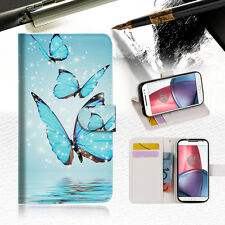 Cyan Butterfly Wallet TPU Case Cover For Motorola Moto X Force-- A019