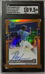 Kyle Lewis 2020 Panini Optic Prizm RC Auto Orange Refractor 25/99 SGC 10 9.5 PSA