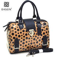 Dasein Women Retro Glossy Leather Handbag Polka Dot Barrel Satchel Bag Beige