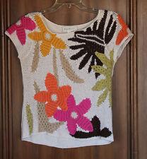 SUSAN BRISTOL Size Small Women's Open Knit Short Sleeve Sweater, Floral Design