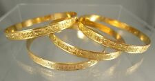"LOT 4 Gold Tone Bangle Egyptian Textured Flea Market Resell 2 1/2"" Diameter #615"