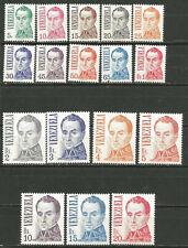 Venezuela Scott #1121-1137 MNH Série Basique Bolivar 1976