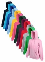 Fruit Of The Loom Plain Hoodie Hoody Hooded Sweatshirt Sweat Jumper No Logo