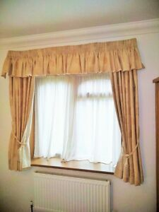 "pair of 127cm x 137cm (50"" x 54"") Light Cream Lined Curtains Tie backs & Valance"