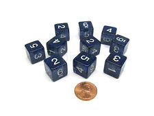 Pack of 10 D6 6 Sided 16mm Koplow Games Number Glitter Dice - Blue