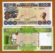 SET Guinea, 100;500 Francs, 2012, Picks 35b-39b, UNC > colorful pair for just $1