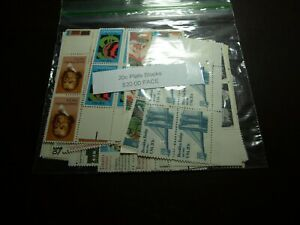 US POSTAGE 20 CENT MINT NEVER HINGED PLATE BLOCKS,  $20.00 FACE