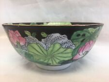 "FAMILLE NOIR BOWL PINK FLOWERS GREEN LEAVES 6"" W  2.75"" H"