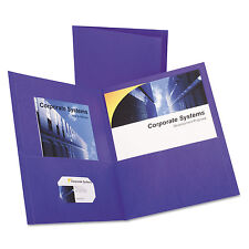 Oxford Twin-Pocket Folder Embossed Leather Grain Paper Purple 25/Box 57514