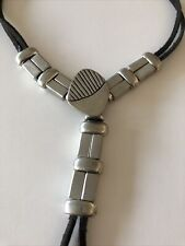 Vintage Modernist Bolo Tie Metal & Leather Heavy Unsigned