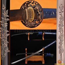 "DAMASCUS STEEL KATANA FULL TANG BLADE JAPANESE SAMURAI SWORD HAND-CARVED SAYA41"""