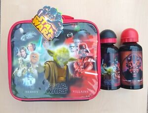 New Star Wars Heroes/Villains Zipped Lunch Bag & Metal Bottle +Darth Maul Bottle